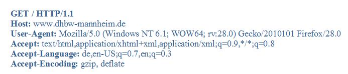 GET / HTTP/1.1 Host: www.dhbw-mannheim.de User-Agent: Mozilla/5.0 (Windows NT 6.1; WOW64; rv:28.0) Gecko/2010101 Firefox/28.0 Accept: text/html,application/xhtml+xml,application/xml;q=0.9,*/*;q=0.8 Accept-Language: de,en-US;q=0.7,en;q=0.3 Accept-Encoding: gzip, deflate